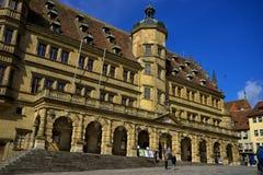 Ehem. Ratstrinkstube Old street of rothenburg ob der tauber Stock Images