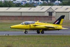 Ehemalige Royal Air Force-R.A.F.-fünfziger Jahre Ära Folland-Mücke T M 1 Jet-Trainerflugzeug G-MOUR Lizenzfreie Stockfotografie