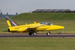 Ehemalige Royal Air Force-R.A.F. ` s Ära Folland-Mücke 1950 T M 1 Jet-Trainerflugzeug G-MOUR Lizenzfreies Stockbild