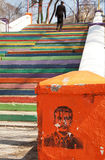 Ehemalige UDSSR-Führer CHABAROWSK, RUSIIA - 18. April 2014: Ehemalige UDSSR-Führer Joseph StaJoseph Stalin-Graffitiporträt Stockfotos
