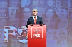 Ehemaliger Premierminister der Körpersprache Rumäniens Adrian Nastase während der Rede Stockfotografie
