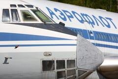 Ehemaliges Aeroflot Ilyushin IL-76T RA-76460 und IL-86 RA-86103, das an internationalem Flughafen Sheremetyevo steht Stockfoto