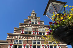 Ehemaliges buntes Stadtbauholzyard von Leiden Stockfoto
