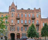Ehemaliges rentables Haus von Prokhorov in der modernen Art auf Vasilyevsky Island in St Petersburg, Russland lizenzfreie stockfotos