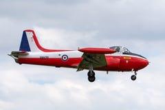 Ehemaliges Royal Air Force, das P-84 Jet Provost T jagt Trainerflugzeuge 3A XM479 G-BVEZ Jetauf der Annäherung, zum von RAF Waddi Stockfotografie