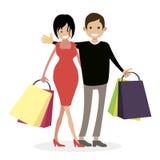 Ehemann und Frau shopaholics Frau und Mann mit Einkaufstaschen vom Speicher kunden Charakterleute-Vektorillustration flach Stockfotos