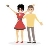 Ehemann und Frau werden fotografiert Eine Frau und ein Mann machen ein selfie Familie clubbers Flache Illustration des Charakterl Lizenzfreie Stockfotografie