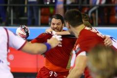 EHF拥护同盟手球比赛马达v Veszprem 库存照片
