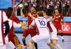 EHF拥护同盟手球比赛马达v Veszprem 免版税库存照片