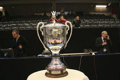 EHF Champions League Final - The Trophy. The danish team Viborg HK met hungarian Györ home in the first leg, of the EHF Champions League Final. Györ won royalty free stock images