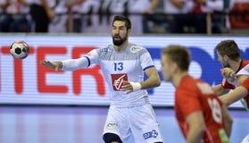 EHF EURO 2016 France Norway. CRACOV, POLAND - JANUARY 27, 2016: Men's EHF European Handball Federation EURO 2016 Krakow Tauron Arena France Norway o/p: Nikola royalty free stock images