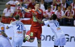 EHF EURO 2016 France Norway. CRACOV, POLAND - JANUARY 27, 2016: Men's EHF European Handball Federation EURO 2016 Krakow Tauron Arena France Norway o/p: Sander royalty free stock image
