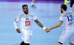 EHF EURO 2016 France Serbia. CRACOV, POLAND - JANUARY 17, 2016: Men's EHF European Handball Federation EURO 2016 Krakow Tauron Arena Serbia France o/p: Cedric royalty free stock images