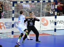 EHF EURO 2016 France Serbia. CRACOV, POLAND - JANUARY 17, 2016: Men's EHF European Handball Federation EURO 2016 Krakow Tauron Arena Serbia France o/p: Kentin royalty free stock image
