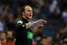 EHF EURO 2016 Germany Norway. CRACOV, POLAND - JANUARY 29, 2016: Men's EHF European Handball Federation EURO 2016 Krakow Tauron Arena Germany Norway o/p: Dagur stock photography