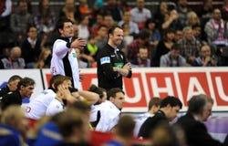 EHF EURO 2016 Germany Norway. CRACOV, POLAND - JANUARY 29, 2016: Men's EHF European Handball Federation EURO 2016 Krakow Tauron Arena Germany Norway o/p: Dagur royalty free stock image
