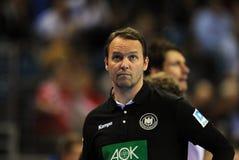 EHF EURO 2016 Germany Norway. CRACOV, POLAND - JANUARY 29, 2016: Men's EHF European Handball Federation EURO 2016 Krakow Tauron Arena Germany Norway o/p: Dagur royalty free stock photography