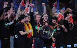 EHF EURO 2016 Germany Spain Final. CRACOV, POLAND - JANUARY 31, 2016: Men's EHF European Handball Federation EURO 2016 Krakow Tauron Arena Germany Spain o/p stock images