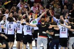EHF EURO 2016 Germany Spain Final. CRACOV, POLAND - JANUARY 31, 2016: Men's EHF European Handball Federation EURO 2016 Krakow Tauron Arena Germany Spain o/p stock photos