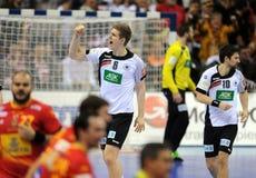EHF EURO 2016 Germany Spain Final. CRACOV, POLAND - JANUARY 31, 2016: Men's EHF European Handball Federation EURO 2016 Krakow Tauron Arena Germany Spain o/p royalty free stock photo