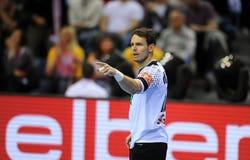 EHF EURO 2016 Germany Spain Final. CRACOV, POLAND - JANUARY 31, 2016: Men's EHF European Handball Federation EURO 2016 Krakow Tauron Arena Germany Spain o/p: Kai royalty free stock photography