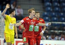 EHF EURO 2016 Macedonië Noorwegen Royalty-vrije Stock Foto