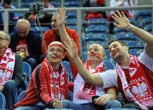 EHF EURO 2016 Macedonia Norway. CRACOV, POLAND - JANUARY 25, 2016: Men's EHF European Handball Federation EURO 2016 Krakow Tauron Arena Macedonia Norway o/p royalty free stock images