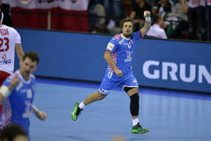 EHF EURO 2016 Poland Croatia. CRACOV, POLAND - JANUARY 27, 2016: Men's EHF European Handball Federation EURO 2016 Krakow Tauron Arena Poland Croatia o/p: Zlatko royalty free stock images