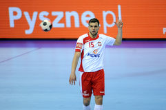 EHF EURO 2016 Poland Macedonia. CRACOV, POLAND - JANUARY 17, 2016: Men's EHF European Handball Federation EURO 2016 Krakow Tauron Arena Poland Macedonia o/p royalty free stock image