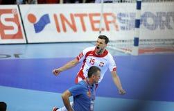 EHF EURO 2016 Poland Macedonia. CRACOV, POLAND - JANUARY 17, 2016: Men's EHF European Handball Federation EURO 2016 Krakow Tauron Arena Poland Macedonia o/p stock photography