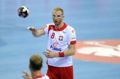 EHF EURO 2016 Polen Wit-Rusland Royalty-vrije Stock Foto's
