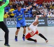 EHF EURO 2020 Qualifiers handball game Ukraine v Denmark. KYIV, UKRAINE - JUNE 12, 2019: Anders ZACHARIASSEN of Denmark attacks during the EHF EURO 2020 royalty free stock photo