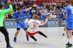 EHF EURO 2020 Qualifiers handball game Ukraine v Denmark. KYIV, UKRAINE - JUNE 12, 2019: Anders ZACHARIASSEN of Denmark attacks during the EHF EURO 2020 stock photos