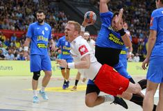 EHF EURO 2020 Qualifiers handball game Ukraine v Denmark. KYIV, UKRAINE - JUNE 12, 2019: Anders ZACHARIASSEN of Denmark attacks during the EHF EURO 2020 stock image