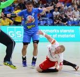 EHF EURO 2020 Qualifiers handball game Ukraine v Denmark. KYIV, UKRAINE - JUNE 12, 2019: Anders ZACHARIASSEN of Denmark attacks during the EHF EURO 2020 royalty free stock images