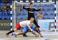 EHF EURO 2020 Qualifiers handball game Ukraine v Denmark. KYIV, UKRAINE - JUNE 12, 2019: Anders ZACHARIASSEN of Denmark in White fights for a ball with Oleksandr royalty free stock images