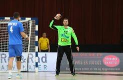 EHF EURO 2020 Qualifiers handball game Ukraine v Denmark. KYIV, UKRAINE - JUNE 12, 2019: Goalkeeper Gennadiy KOMOK of Ukraine in action during the EHF EURO 2020 stock photos