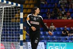 EHF EURO 2020 Qualifiers handball game Ukraine v Denmark. KYIV, UKRAINE - JUNE 12, 2019: Goalkeeper Jannick GREEN KREJBERG of Denmark in action during the EHF stock images
