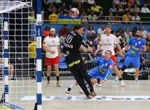 EHF EURO 2020 Qualifiers handball game Ukraine v Denmark. KYIV, UKRAINE - JUNE 12, 2019: Goalkeeper Jannick GREEN KREJBERG of Denmark in action during the EHF stock photo