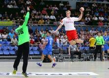 EHF EURO 2020 Qualifiers handball game Ukraine v Denmark. KYIV, UKRAINE - JUNE 12, 2019: Johan a Plogv HANSEN of Denmark attacks during the EHF EURO 2020 royalty free stock photos