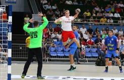 EHF EURO 2020 Qualifiers handball game Ukraine v Denmark. KYIV, UKRAINE - JUNE 12, 2019: Johan a Plogv HANSEN of Denmark attacks during the EHF EURO 2020 royalty free stock photography