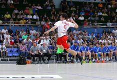 EHF EURO 2020 Qualifiers handball game Ukraine v Denmark. KYIV, UKRAINE - JUNE 12, 2019: Magnus Grubb BRAMMING of Denmark attacks during the EHF EURO 2020 stock image
