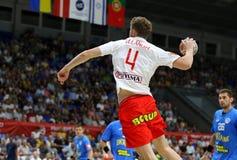 EHF EURO 2020 Qualifiers handball game Ukraine v Denmark. KYIV, UKRAINE - JUNE 12, 2019: Magnus LANDIN JACOBSEN of Denmark attacks during the EHF EURO 2020 stock photography