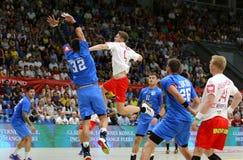 EHF EURO 2020 Qualifiers handball game Ukraine v Denmark. KYIV, UKRAINE - JUNE 12, 2019: Magnus LANDIN JACOBSEN of Denmark attacks during the EHF EURO 2020 stock photos