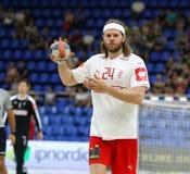 EHF EURO 2020 Qualifiers handball game Ukraine v Denmark. KYIV, UKRAINE - JUNE 12, 2019: Mikkel HANSEN of Denmark in action during the EHF EURO 2020 Qualifiers royalty free stock photos