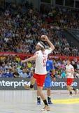 EHF EURO 2020 Qualifiers handball game Ukraine v Denmark. KYIV, UKRAINE - JUNE 12, 2019: Mikkel HANSEN of Denmark throws the penalty kick during the EHF EURO royalty free stock photo