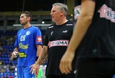 EHF EURO 2020 Qualifiers handball game Ukraine v Denmark. KYIV, UKRAINE - JUNE 12, 2019: Nikolaj JACOBSEN, head coach of Denmark National handball team during stock photo