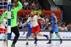 EHF EURO 2020 Qualifiers handball game Ukraine v Denmark. KYIV, UKRAINE - JUNE 12, 2019: Nikolaj Oris NIELSEN of Denmark in White attacks during the EHF EURO stock photo