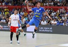 EHF EURO 2020 Qualifiers handball game Ukraine v Denmark. KYIV, UKRAINE - JUNE 12, 2019: Pavlo GURKOVSKY of Ukraine attacks during the EHF EURO 2020 Qualifiers stock image