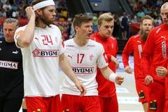 EHF EURO 2020 Qualifiers handball game Ukraine v Denmark. KYIV, UKRAINE - JUNE 12, 2019: Players of Denmark National handball team during the EHF EURO 2020 stock image